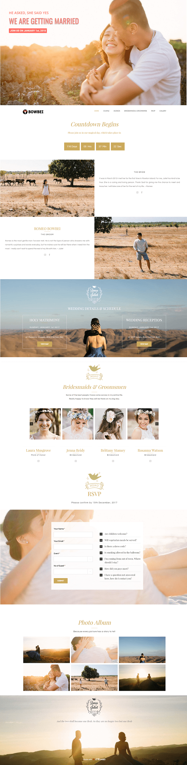 Bowbei Wedding Website Theme